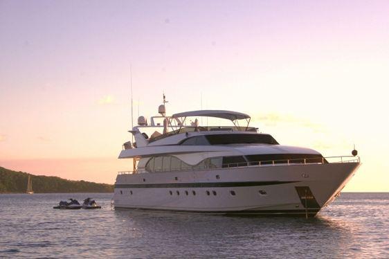 Charter yacht Miracle at anchor at sunrise