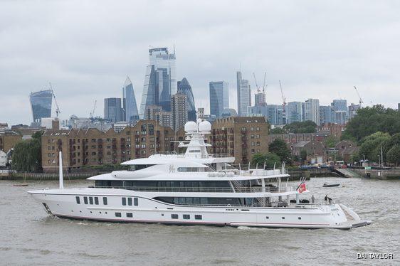Sixth Sense yacht arriving in London