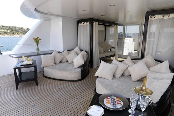 Luxury yacht My Little Violet sundeck with champagne