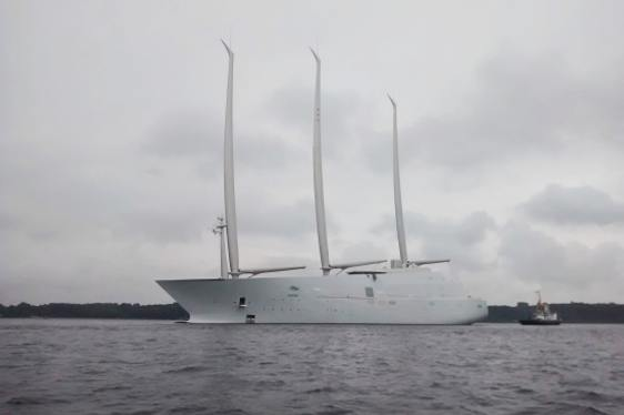 FIRST LOOK: 143m Sailing Yacht A (ex White Pearl) Emerges from Dock for First Time