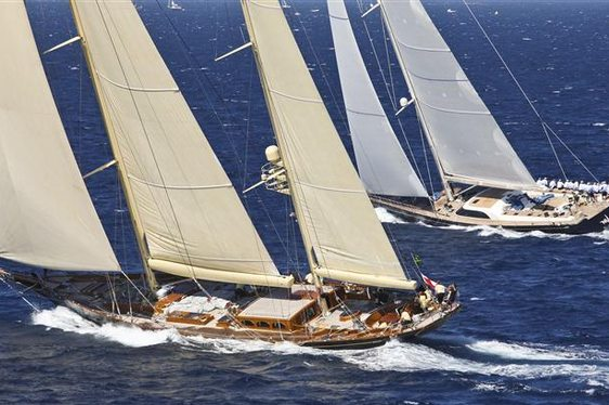 Two sailing yachts racing at the Maxi Yacht Rolex Cup