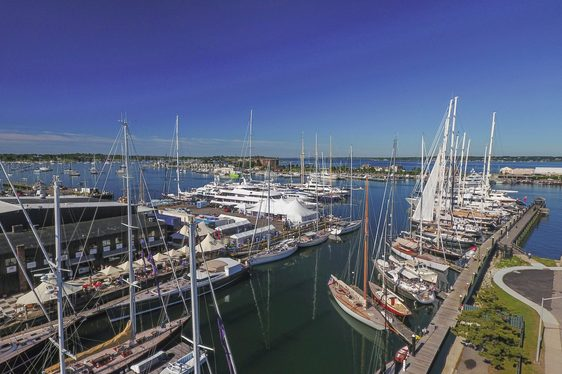 superyachts lined up at the Newport Charter Yacht Show