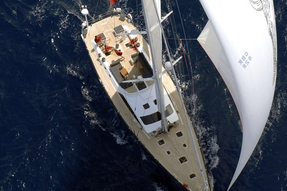 Aerial view of sailing yacht Nikata