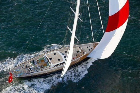 Aeriel view of charter yacht Whisper sailing in the Caribbean