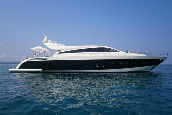 Motor yacht Friday at anchor in the Mediterranean