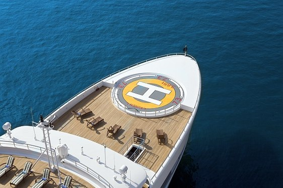 Superyacht Lauren L helipad from above when cruising on charter