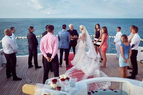 charter guests get married on sundeck on board luxury yacht 'My Seanna'