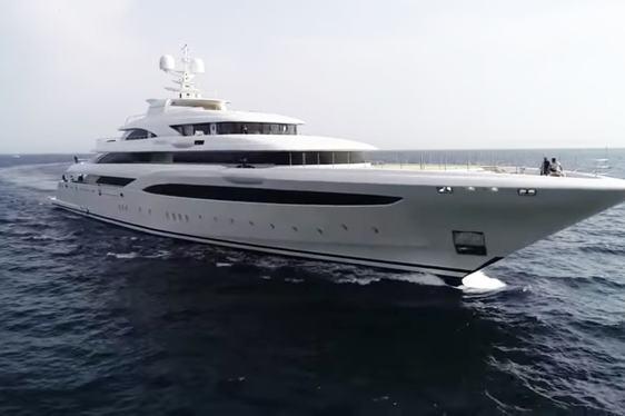 superyacht O'PTASIA cruising on sea trials near Athens, Greece