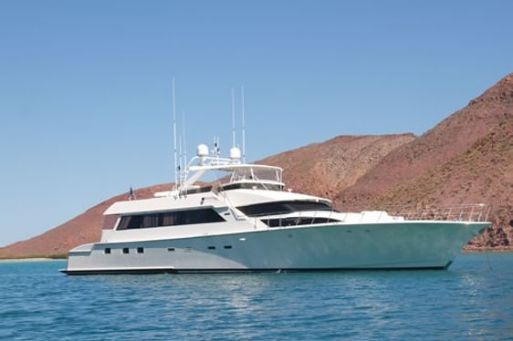 Motor yacht First Home at anchor