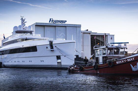 Feadship superyacht NAJIBA launches at the shipyard's Aalsmeer facilities