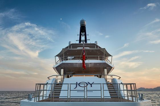aft view of superyacht JOY while on a luxury yacht charter in the Mediterranean