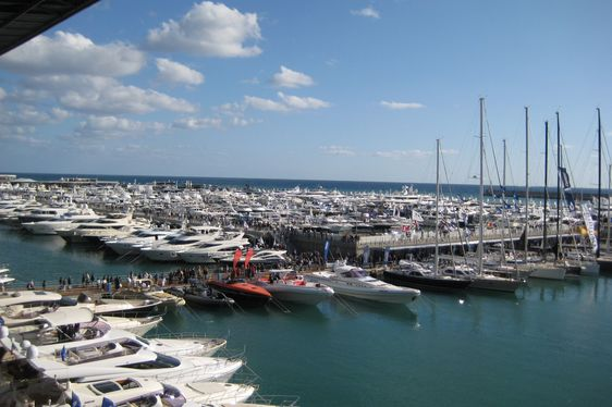 Yachts on display at the Genoa International Boat Show