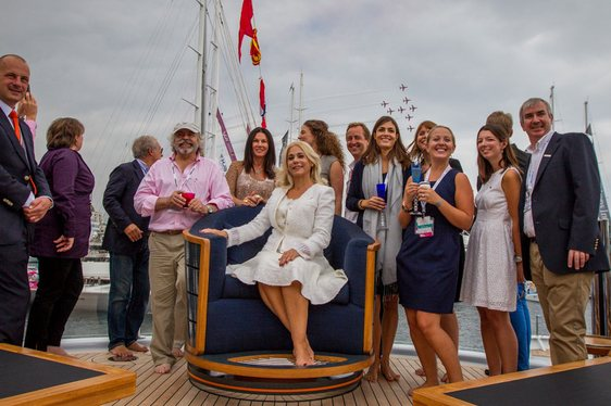 Maltese Falcon yacht's owner accepting award at Monaco Yacht Show