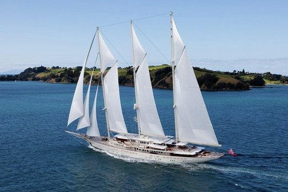 The three masted gaff rigged schooner yacht Athena sailing in the Caribbean