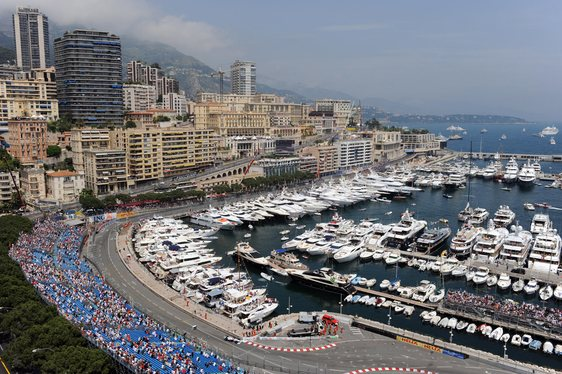 Yachts in the harbour at the Monaco Grand Prix