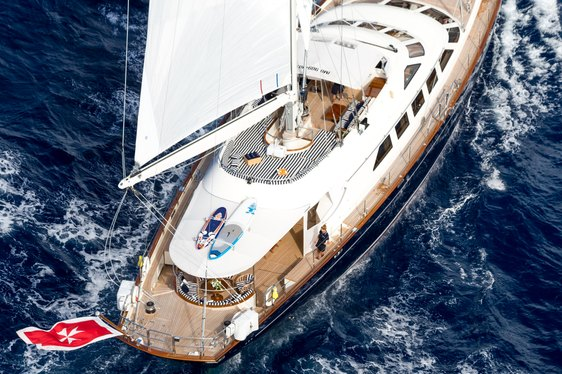 aerial view of sailing yacht ELLEN on charter in the Caribbean