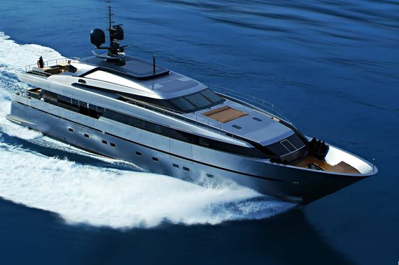 Aerial shot of luxury yacht 4A underway, slicing through the Mediterranean waters