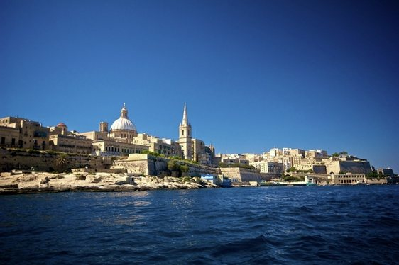 View of a city in Malta from the sea