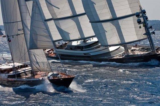 sailing yachts underway during the Perini Navi Cup in Sardinia