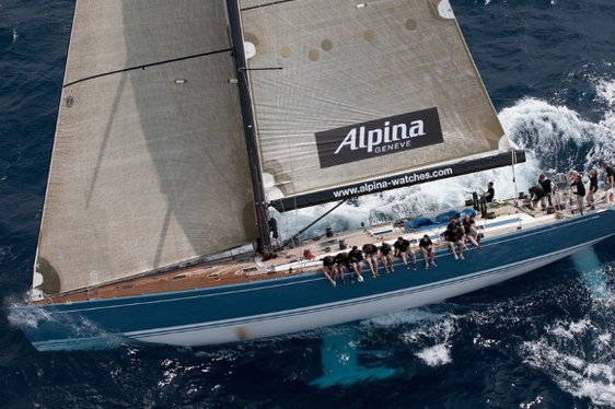 Charter yacht Alpina sailing in a regatta