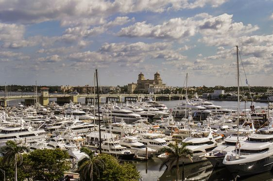 Boats on display at Palm Beach Boat Show