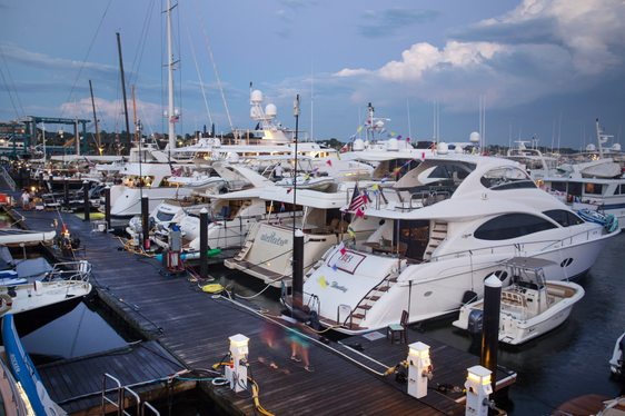 luxury yachts line up in Newport Shipyard for the Newport Yacht Show