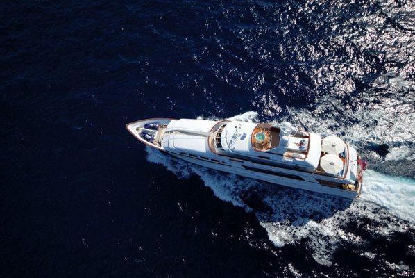 Lady J Yacht Running Shot - Overhead