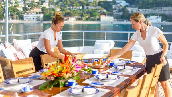 Breakfast on luxury yacht W