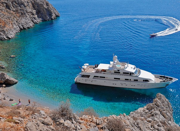 Luxury yacht LIONSHARE in clear turquoise bay in Corsica