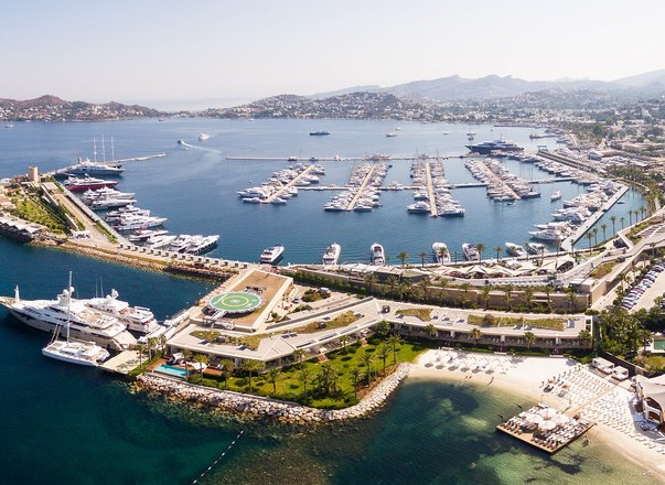 Yachts berth in Yalikavak Marina in Bodrum, Turkey