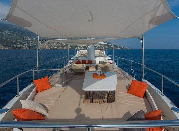 Deck spaces aboard charter yacht Sultana