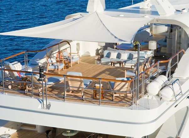 Aft decks of superyacht LATITUDE