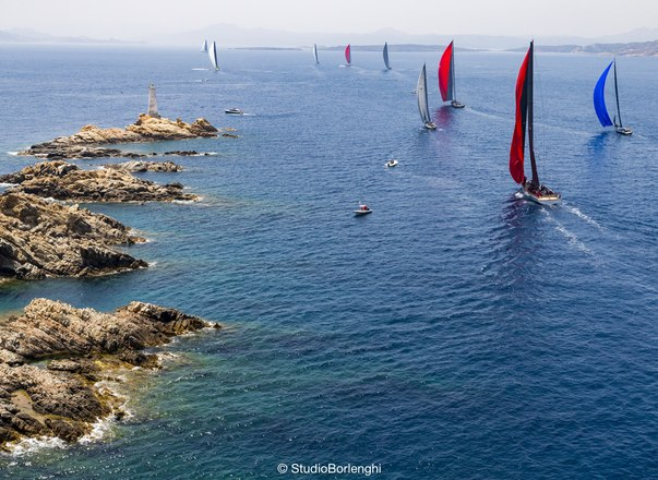 Sailing yachts on the water during Loro Piana Superyacht Regatta 2019