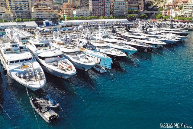 luxury yachts lined up in Port Hercules for the Monaco Yacht Show 2018