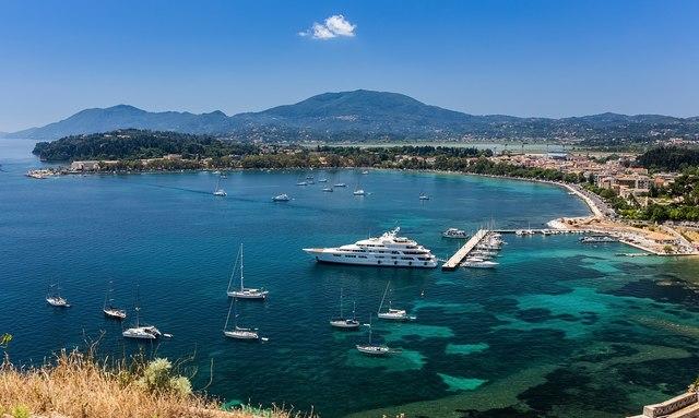 luxury yacht at corfu marina