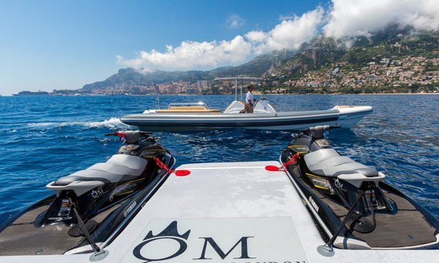 M/Y QM of London Jetski dock with Cote de Zur in background