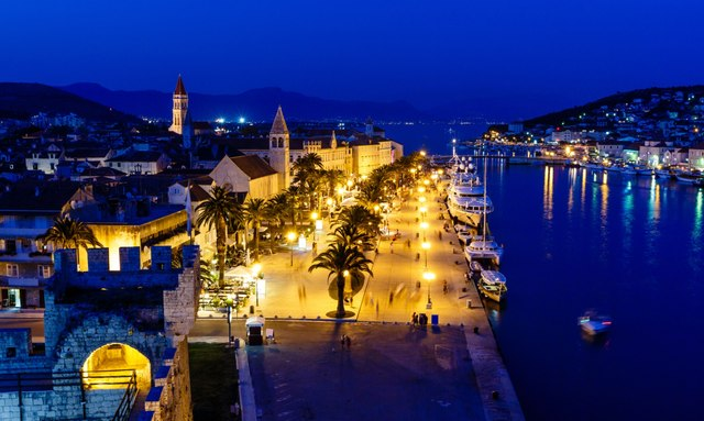 Croatia Yacht charter VAT Tax - Aerial View on Illuminated Ancient Trogir in the Night