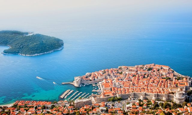 Aerial view of the historic town of Dubrovnik