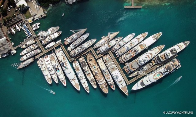 charter yachts line up for the Antigua Charter Yacht Show 2018