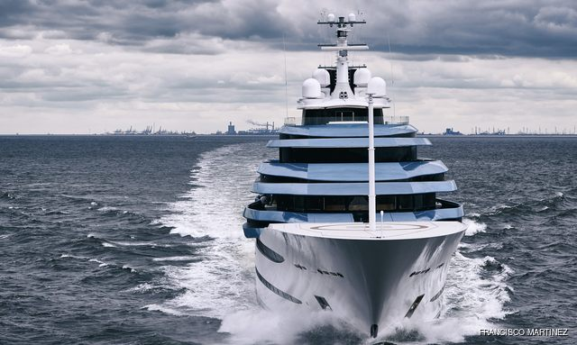head-on view of 110m yacht jubilee