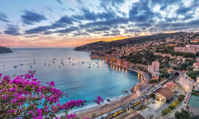 Aerial view of bay in the French Riviera