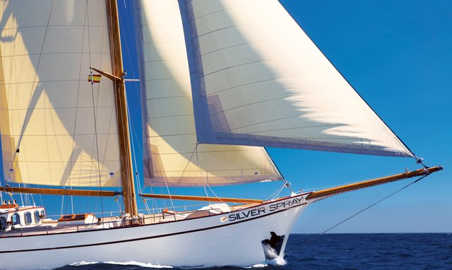 Close up of bow of sailing yacht Silver Spray when cruising on charter