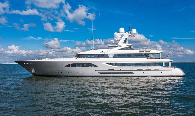 feadship superyacht w side profile at anchor