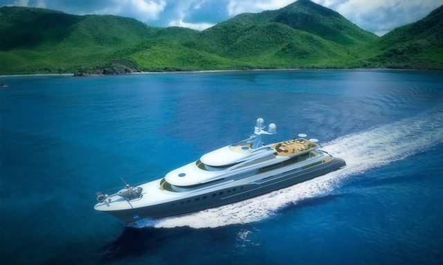 Axoima yacht illustration with helicopter on the bow