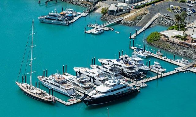 Yachts in port at Coral Sea Marina Resort in the Whitsundays