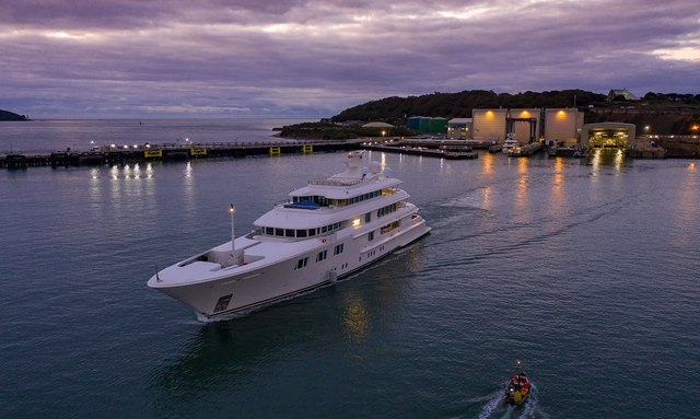 Luxury yacht Lady E arrives to Pendennis shipyard in Cornwall