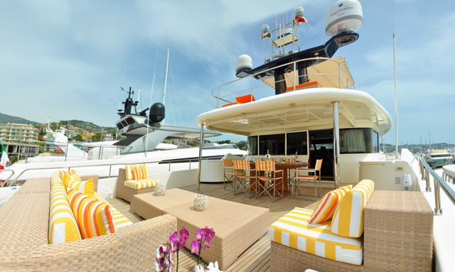 Sundeck on board luxury yacht CONQUISTADOR