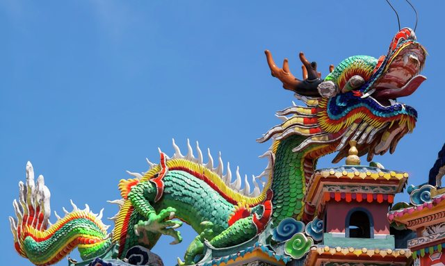 The colourful roof of a Hong Kong dragon temple