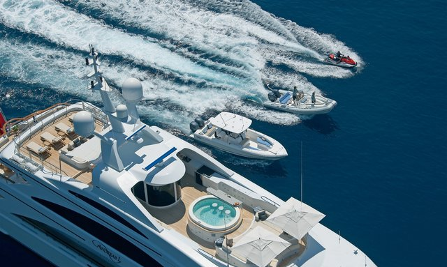 Aerial view of charter yacht Andreas L cruising with her tenders