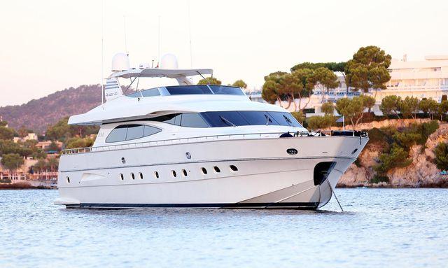 Luxury yacht JURIK at anchor Ibiza